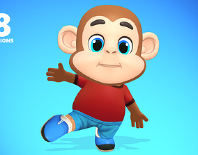 3D model Monkey Chimp Primate Animated Rigged