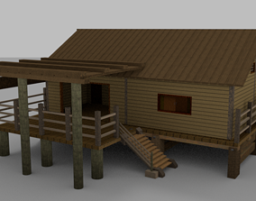 3D asset low-poly Wooden House With External Area
