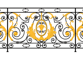 Iron balcony art vintage pattern exterior 3D print model 2