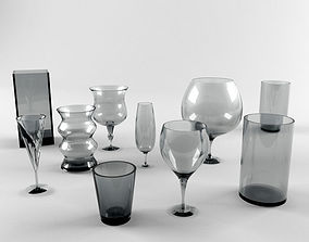 3D Glass Glassware Drink Alcohol Wine Crystal Furnishings
