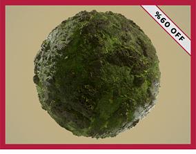 PBR Mossy Rock Ground Terrain Seamless Material 3D model