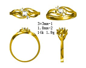 JCD Elegant gold princess cut ring 3D printable model 1