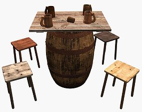 Beer barrel table 3D model