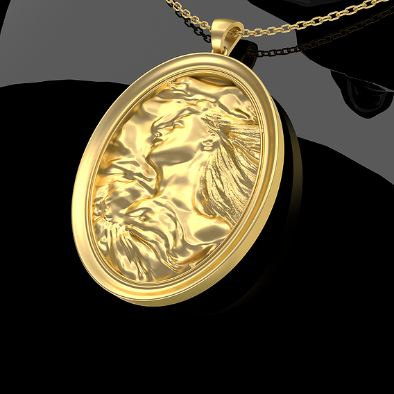Woman Sleeps Pendant Jewelry Gold 3D print model