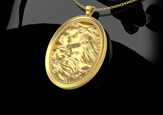 Woman Sleeps Pendant Jewelry Gold 3D print model