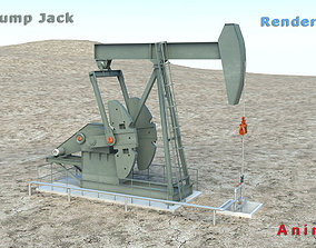 3D model animated Oil Pump Jack