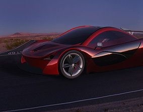 3D Red Maclerean Sports Car