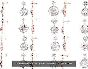 34 women creative earrings 3dm bulk