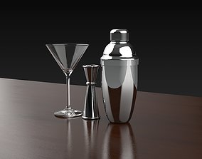 Cocktail glass and shaker 3D model