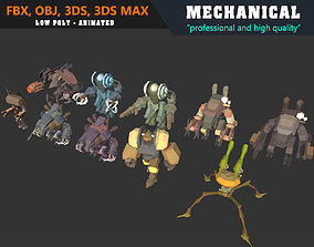 3D asset Low Poly Mechanical Mech Collection 01 - Animated