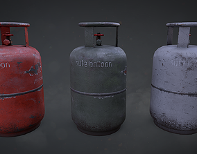 3D model PBR Gas cylinder small Game Ready LODs