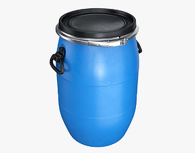 3D model Plastic barrel with lid and handles container