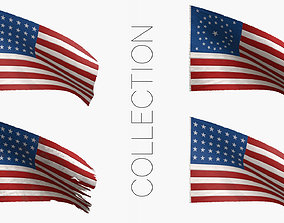 3D model American Union Flags