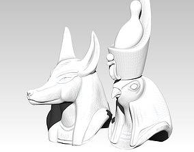 Horus Anubis pair head bust model