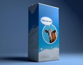 Box carton milk 3D