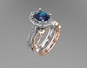 3D printable model Diamond oval matching rings