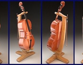 3D Violon Cello with bow and stand