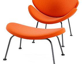 3D Artifort Orange Slice Low chair and footstool