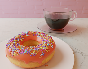 breakfast 3D model animated Donut and Coffee