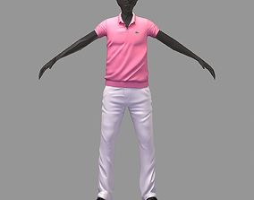 avatar casual set pink polo white pants black 3D