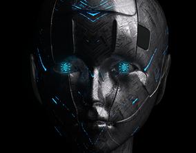 3D scifi female head