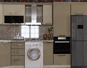 White-Yellow Kitchen Furniture Design Atash 3D asset