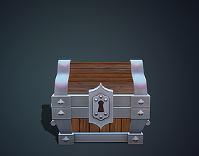 Stylized chest metal 3D model