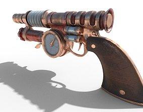 Gun steampunk PBR low poly 3D model