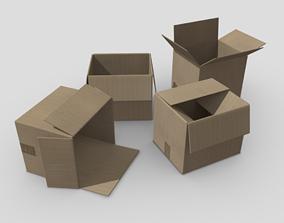 Cardboard Box 3D model realtime PBR
