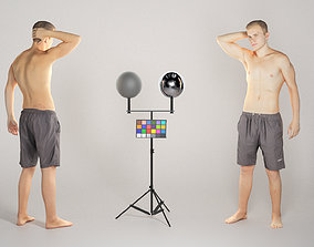 3D model low-poly Muscly young man in black shorts 116