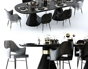 Kelly Wearstler Miramar Table and Rigby Chair 3D