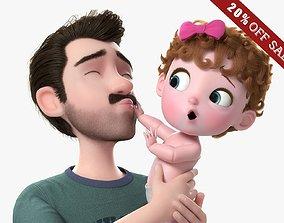 3D model Cartoon Family Rigged V6