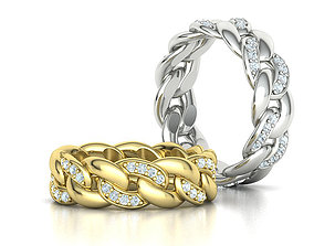 DIAMOND Cuban Link Heavy Chain Ring 7mm Wide 8US Size