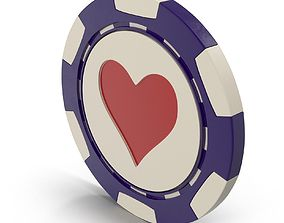Hearts Casino Chip 3D