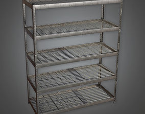 3D asset Large Metal Shelf TLS - PBR Game Ready
