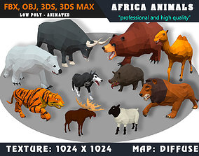 3D asset Low Poly Animals Africa Cartoon Collection - 1