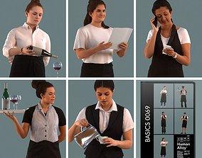 Set of 3D women waitresses