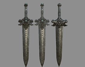 VR / AR ready Devil Sword Lowpoly 3D Model Texturing