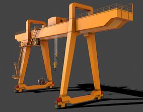 3D model PBR Double Girder Gantry Crane V1 - Yellow Dark