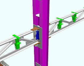 3D model Steel frame with foundation