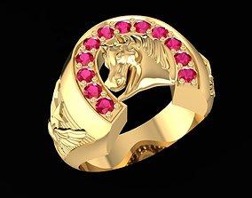 3D printable model fengshui gold horse ring 1562