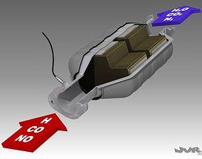 Car Exhaust Catalytic Converter 3D