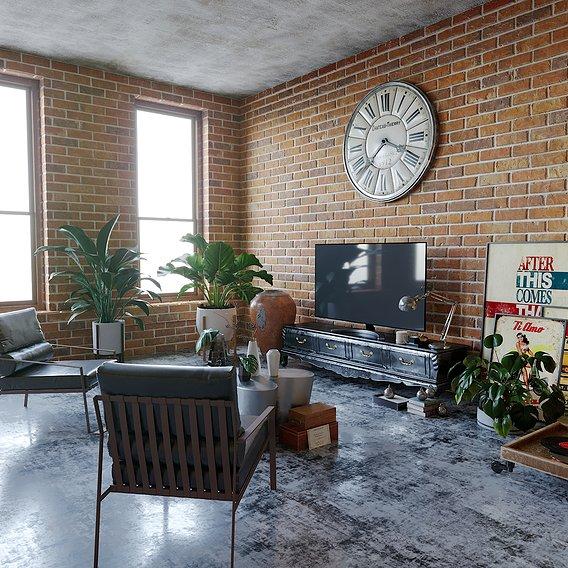 concrete and brick interior
