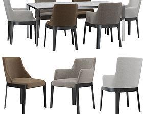 Molteni C CHELSEA chair FILIGREE table 3D