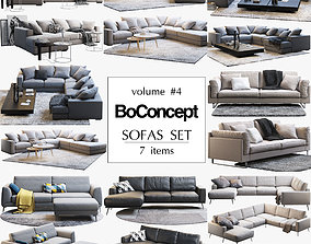 livingroom Boconcept 7 sofas set 3D model