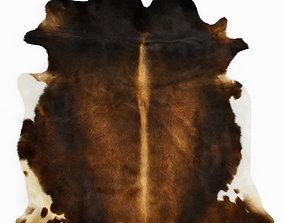 Cowhide Rug Europe Dark Brown 3D model