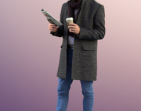 11309 Jason - Man standing coat winter reading 3D 1