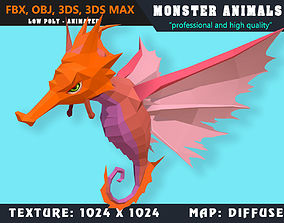 Low Poly Sea Horse Monster 30 Animated - Game 3D asset