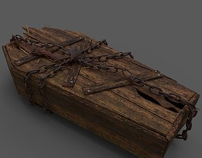 3D model Wooden Coffin With Hand