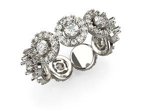 3D print model Diamond 9 stone ring